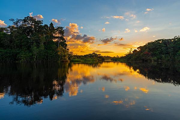Spondias 7-Day Itinerary Day One - Amazon River Sunset.