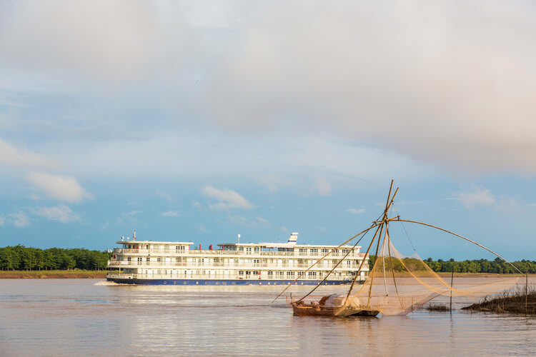 Mekong Navigator's 8-Day Downstream Itinerary Day Six - Boat Exterior