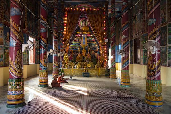 Aqua Mekong's 8-Day Mekong Expedition Downstream Day Five - Inside a Pagoda