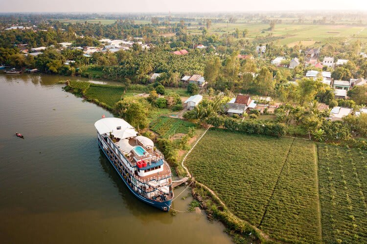 Jayavarman's Pearl of the Orient Upstream Day One - Boat Drone View