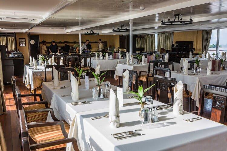 Jayavarman's Pearl of the Orient Upstream Day Three - Restaurant On Board