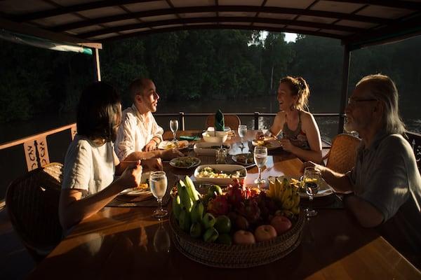 Rahai'i Pangun's Relaxing Orangutan & Dayak Village Upriver - Day Two - Dinner On Board