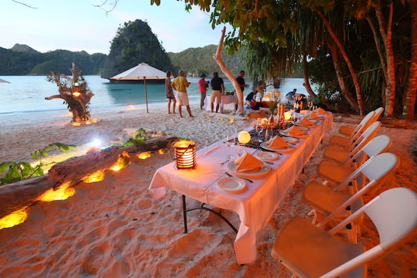 Lamima's 11-Day Greater Raja Ampat - Day Two - Dinner Set Up on Beach