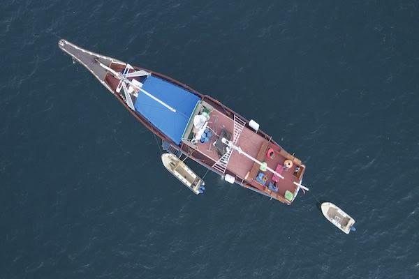 Lady Denok's 9-Day Komodo Cruise - Day One - Boat Drone View