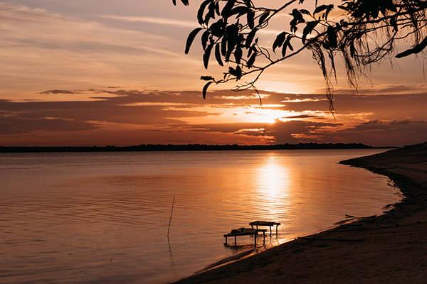 Untamed Amazon's 4-Day Tukano Cruise Day Three - Sunset at the beach.