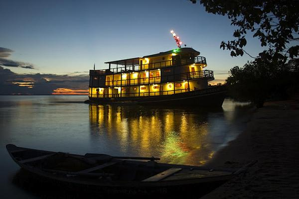 Amazon Dream's 6-Day Tapajos Cruise Itinerary Day Four - Cruise at night.