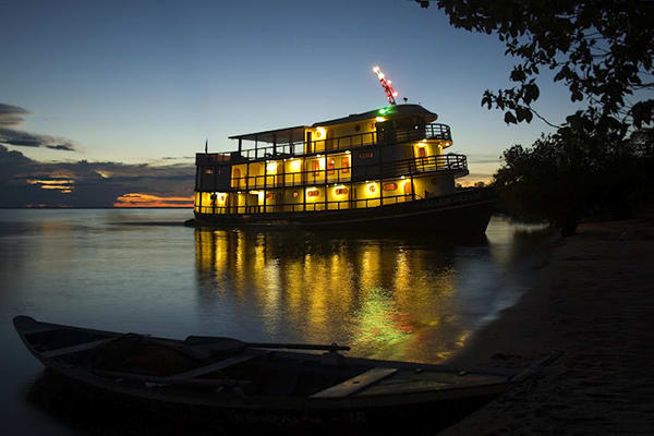 Amazon Dream's 10-Day Amazon & Tapajos Rivers Cruise Itinerary Day Eight - Cruise at night.