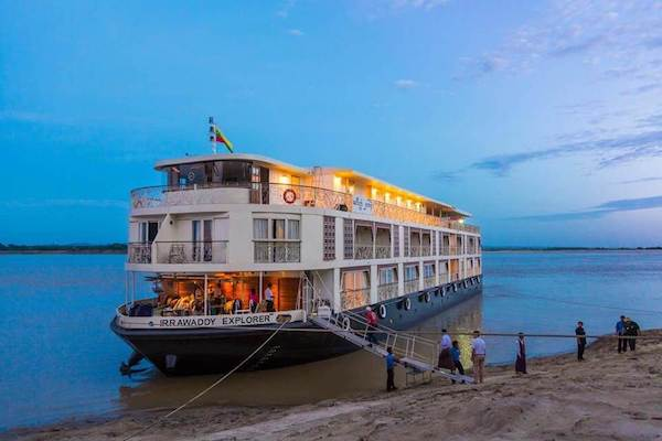 Irrawaddy Explorer's 6-Day The Royal Capitals Upriver - Day One - Irrawaddy Explorer Anchoring