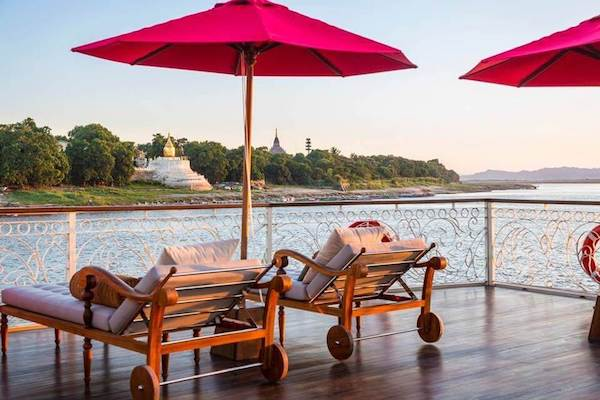 Irrawaddy Explorer's 6-Day The Royal Capitals Downriver - Day Six - Sundeck Lounge