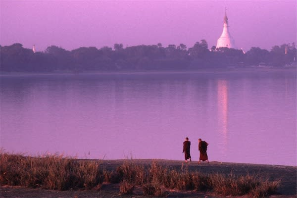 Irrawaddy Explorer's 10-Day Treasure of Golden Myanmar Downriver - Day Four - Monks walking at Dusk