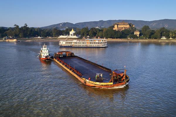 Paukan Princess' 11-Day Burmese Days Downriver - Day Two - An Empty Ferry along Chindwin River