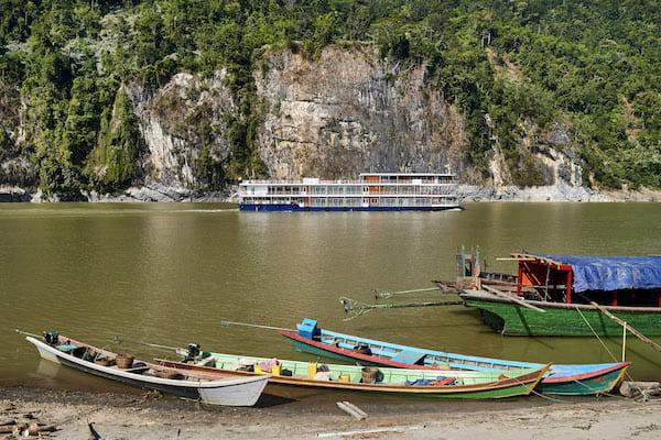 Paukan Princess' 11-Day Burmese Days Downriver - Day Six - Locals Boats docking