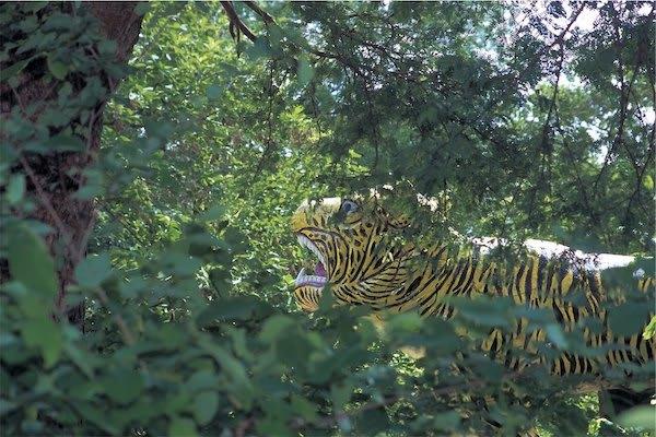 Paukan Princess' 11-Day Burmese Days Downriver - Day Ten - Tiger Statue in the Jungle