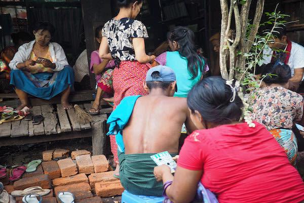Kha Byoo Pandaw's Upper Irrawaddy: Bagan to Mandalay - Day Ten - Locals Playing Bingo