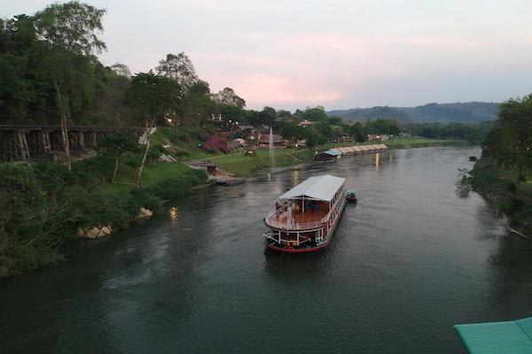 RV River Kwai's 4-Day Downriver Cruise - Day Two - Boat Drone View