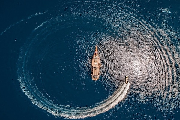 Carpe Diem's 8-Day Komodo Islands - Day Eight - Boat Drone View