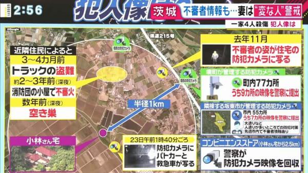 茨城一家殺傷事件 犯人像 去年11月 不審者の姿が週拓の防犯カメラに映る 地図