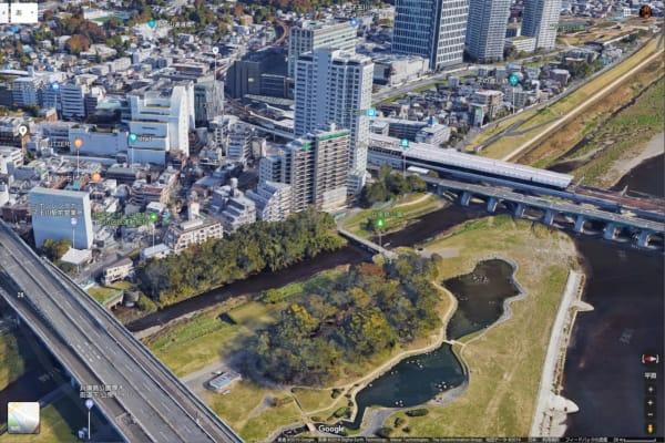 二子玉川駅前に無堤防ポイントがあってここから越水