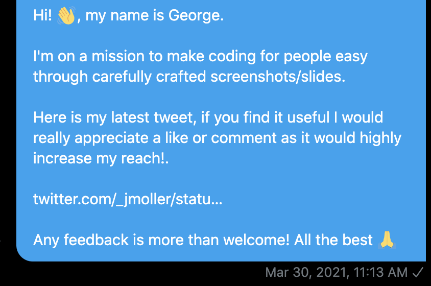 twitter message from March 30th