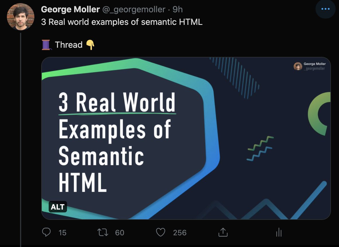 tweet on semantic HTML