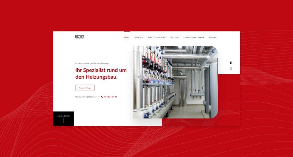 Vischer Heizungen Mockup Homepage