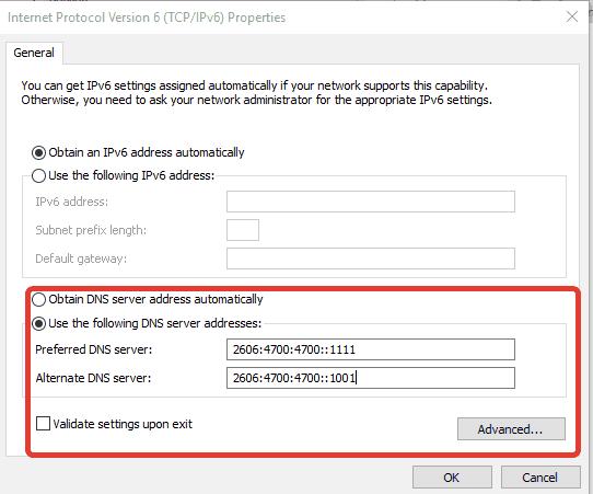 Cloudflare Ipv6 DNS
