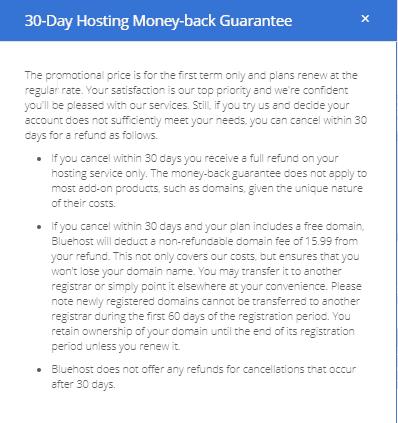 Bluehost money back