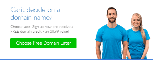 Bluehost choose your domain name later
