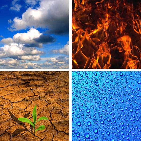 Wat is natuur? Vier van de vijf elementen: lucht, vuur, aarde en water