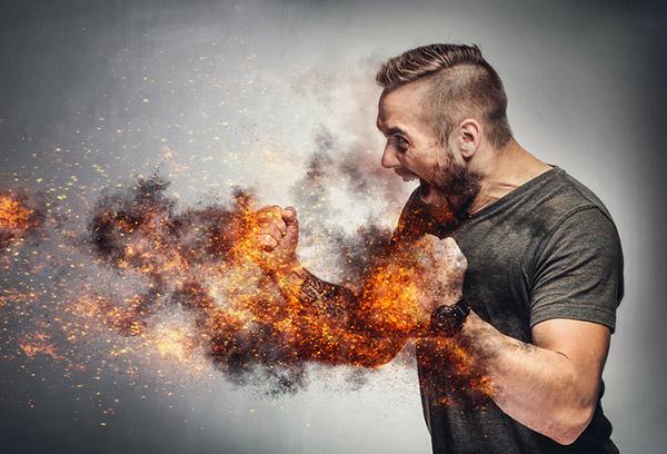 Oververhitte man door een teveel aan pitta-dosha