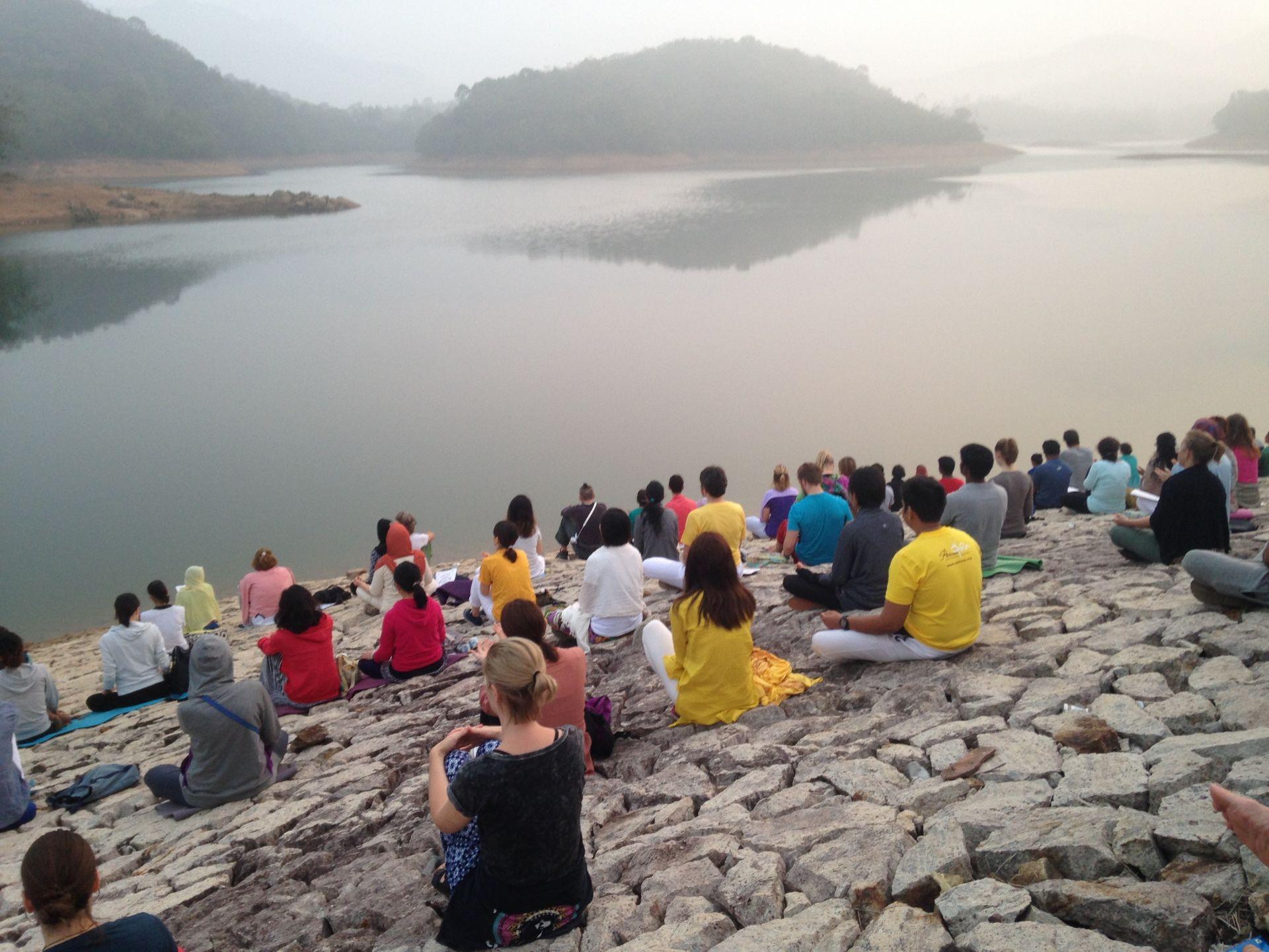 Zonsopgang Neyyar Dam