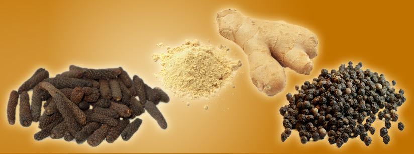 Gember, zwarte peper en lange peper ter ondersteuning van de spijsvertering