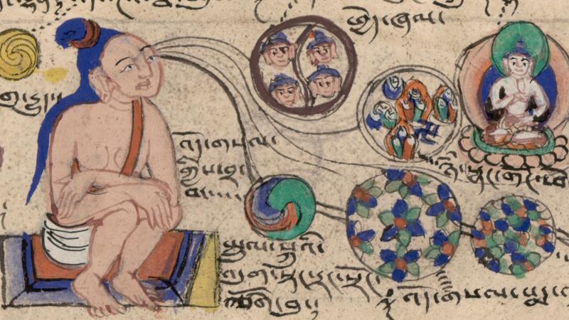 Pranayama en meditatie hebben als doel harmonie tussen lichaam, geest en ademhaling (hier Tibetaanse meditatie - foto Royal Library Copenhagen)