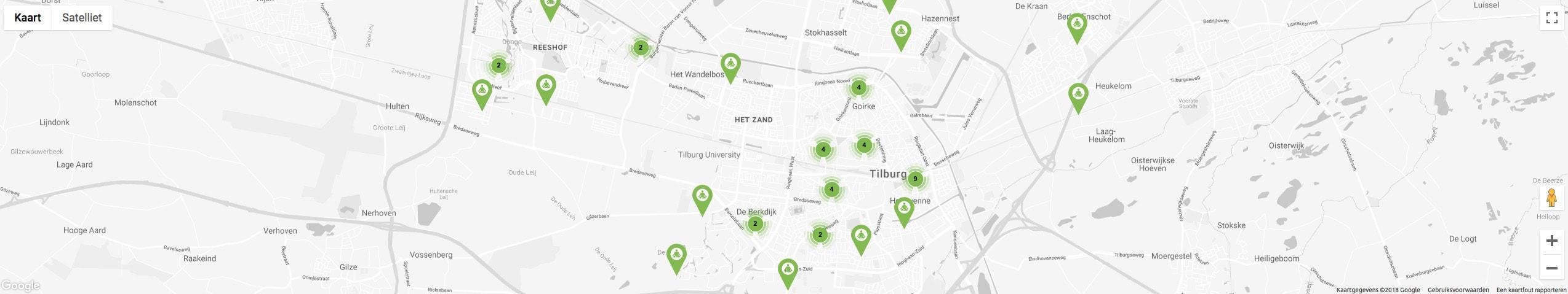 Kaart Yogascholen Tilburg