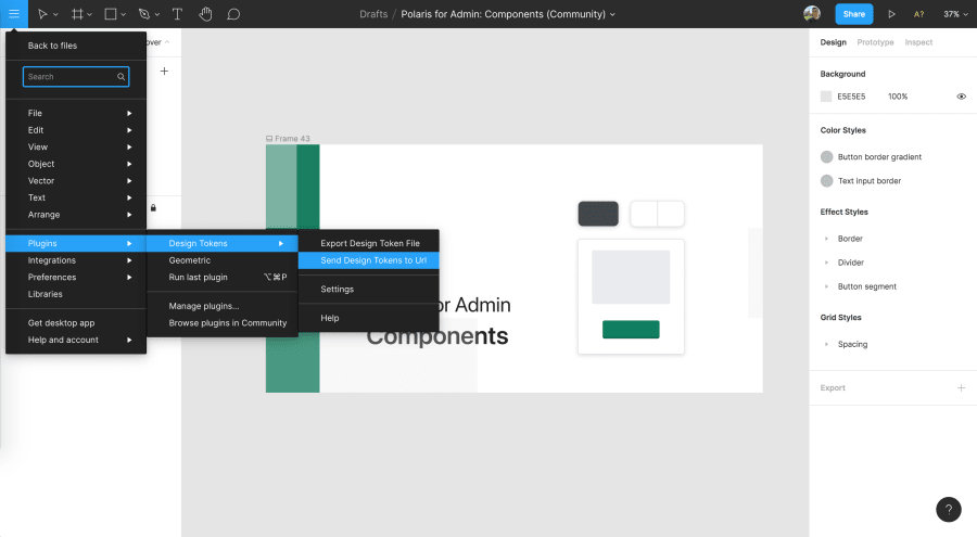 exporting design tokens from Figma with Style Dictionary
