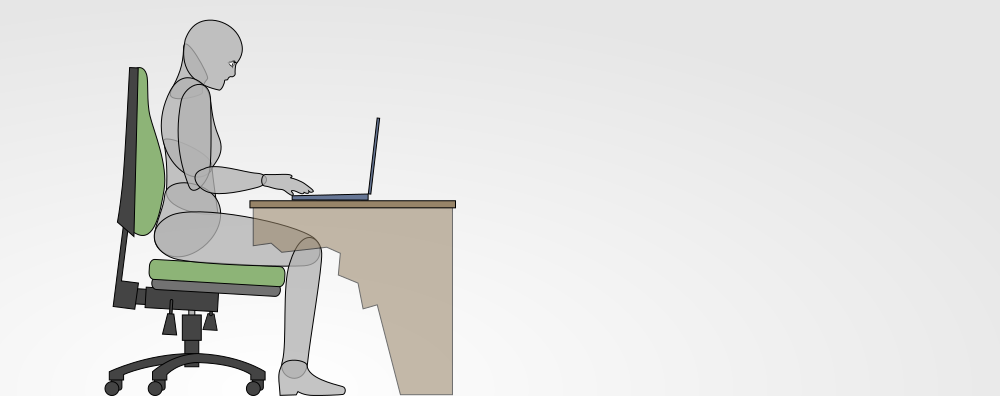 posture when using a laptop on a bare desk