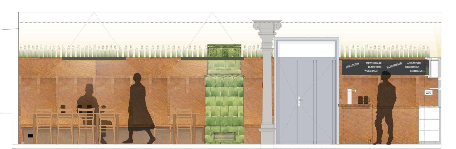 Ausstattung Neue Gasträume mit Wandvertäfelung