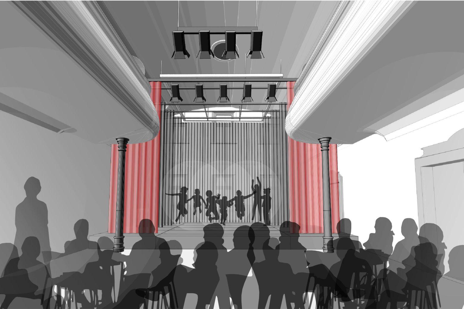 historischer Tanzsaal mit mobiler Bühnenausstattung