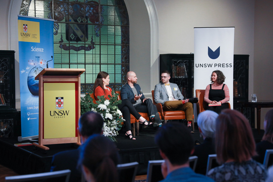 Bragg Prize finalists on stage at the awards ceremony with Bianca Nogrady