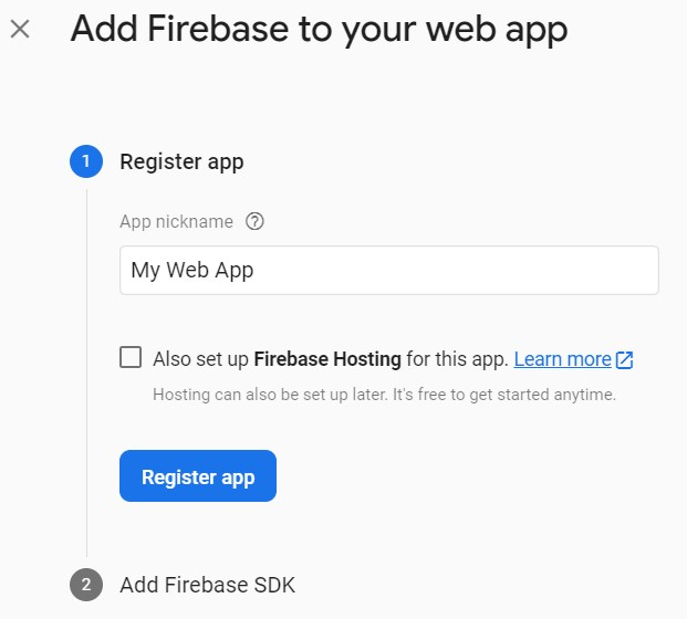 Firebase add app ><