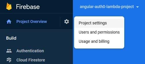 Firebase Project Settings ><