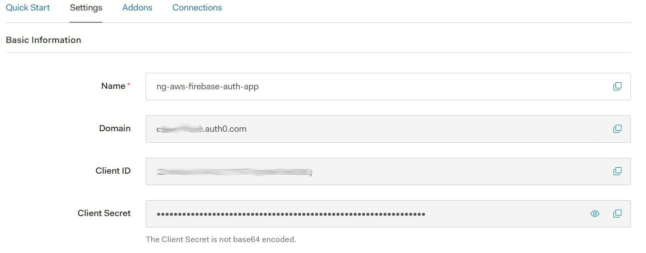 Auth0 app settings - basic information section><