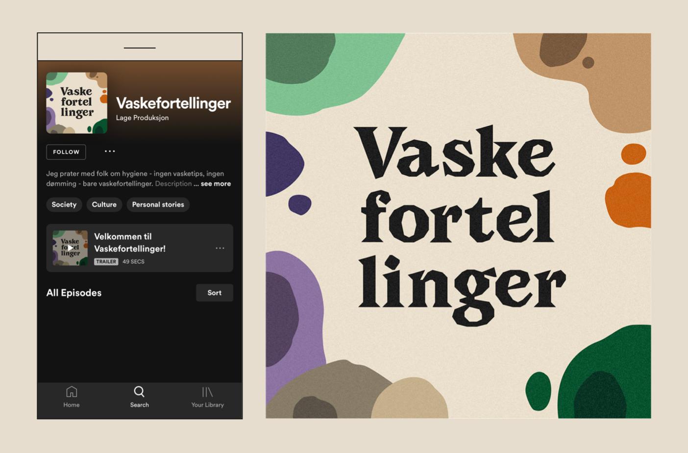Westerdals Institutt for Kommunikasjon og Design - Visuell profil til podcasten Vaskefortellinger