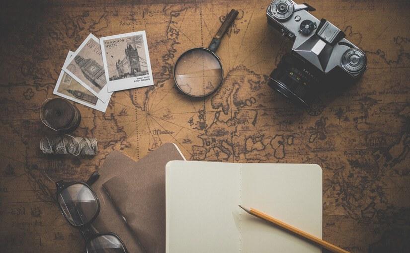 Planowanie podróży - aparat, notatnik