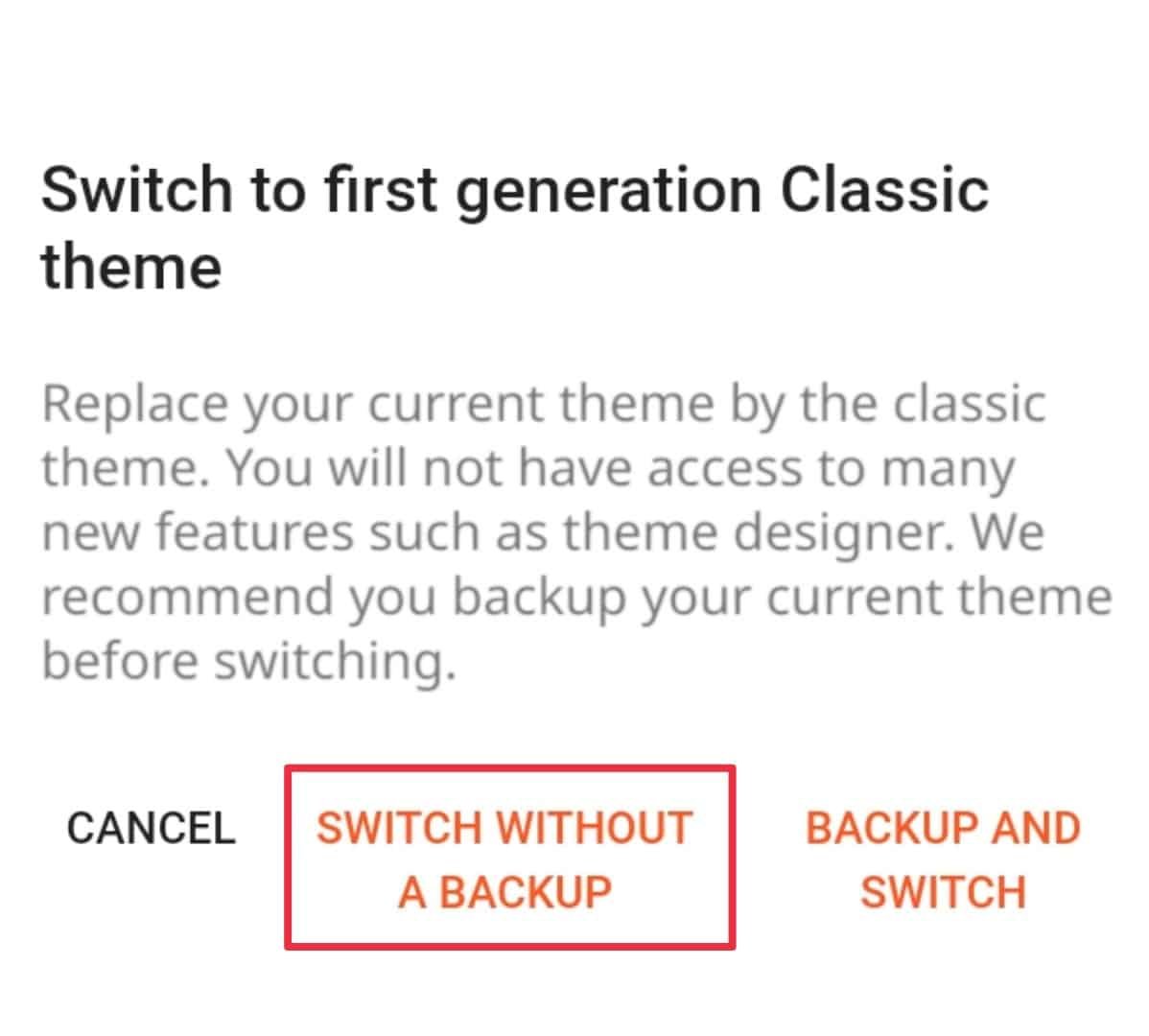 Switch to first generation classic theme in blogger