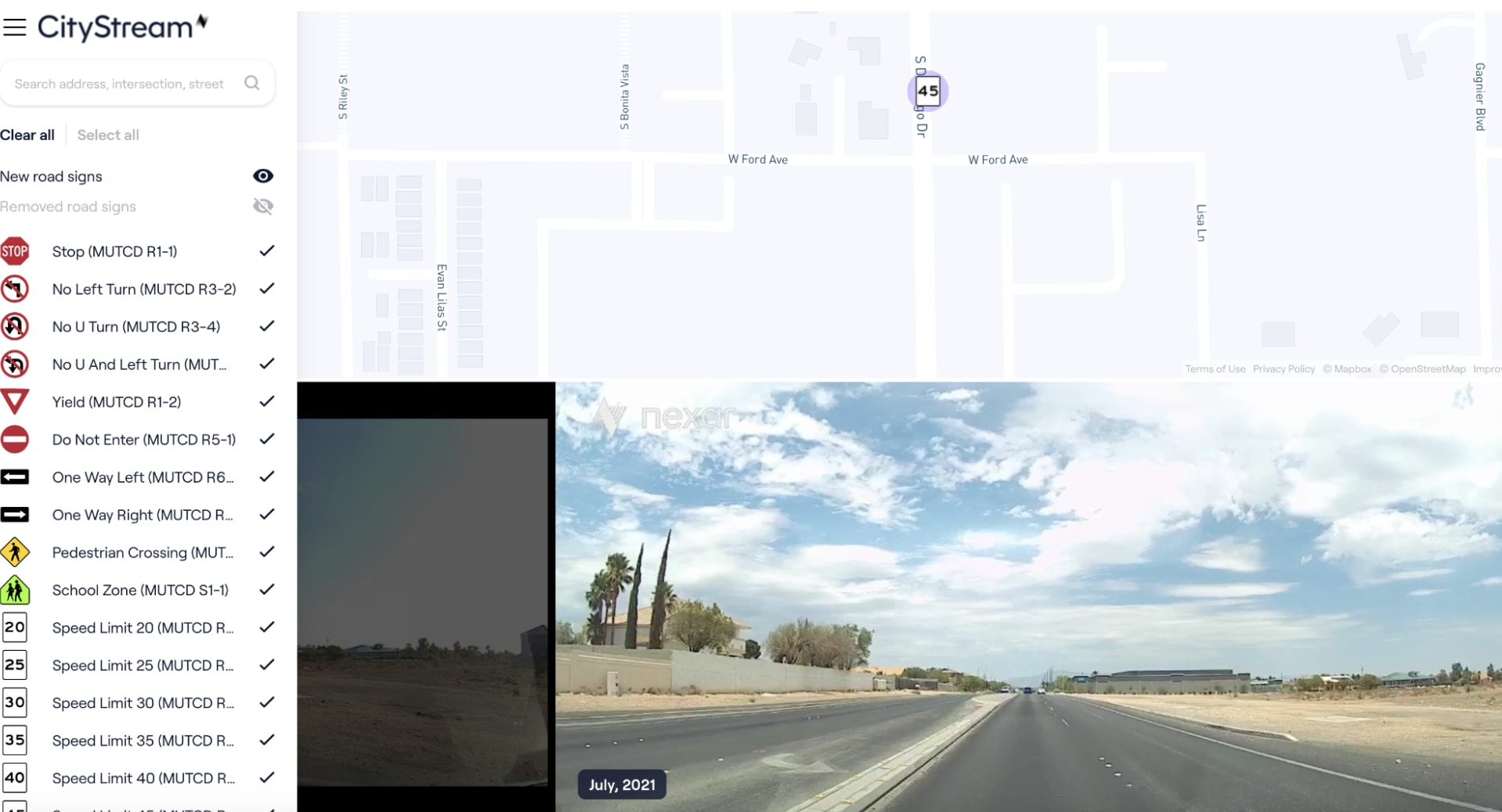Announcing change detection for road signs