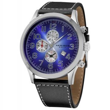 Men 39 s watches akribos xxiv essential chronograph quartz blue white gradient dial men 39 s watch for Gradient dial watch