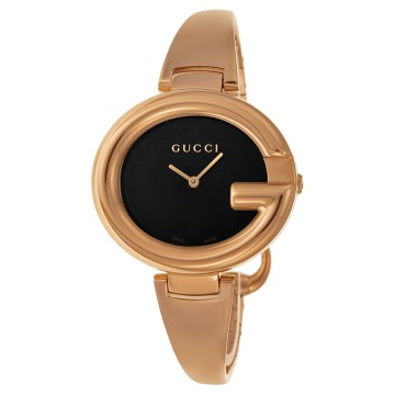 39ed79dca3c Women s Watches - Gucci ssima Black Dial Rose Gold PVD Ladies Watch ...