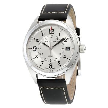 Hamilton Khaki Field Silver Diall Black Leather Mens Watch