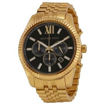 4be04c5f5473 Men s Watches - Michael Kors Lexington Chronograph Black Dial Gold ...
